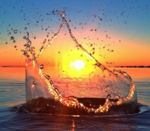water drop sunset